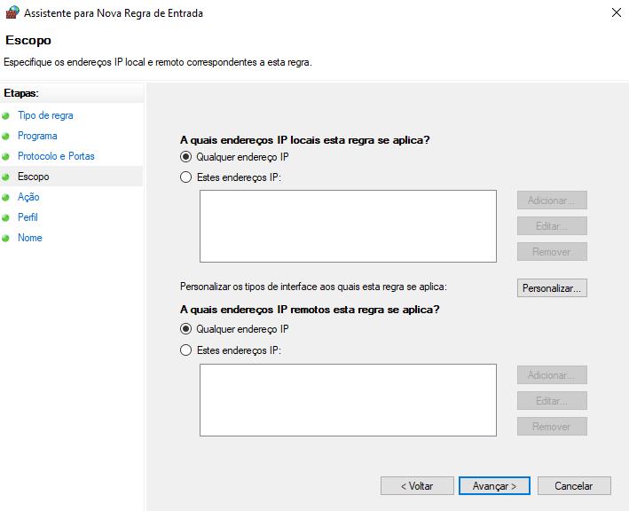 Escopo da regra de firewall no windows