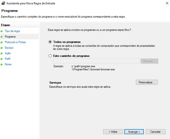 Regra para todos os programas no windows firewall