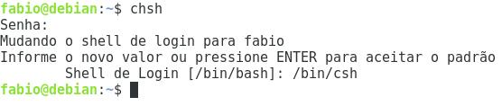Alterar shell padrão no Linux para csh