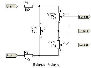 Controle de volume e balanço estéreo com potenciômetro duplo