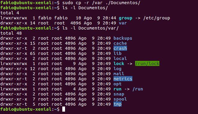 copiando arquivos no linux com comando cp