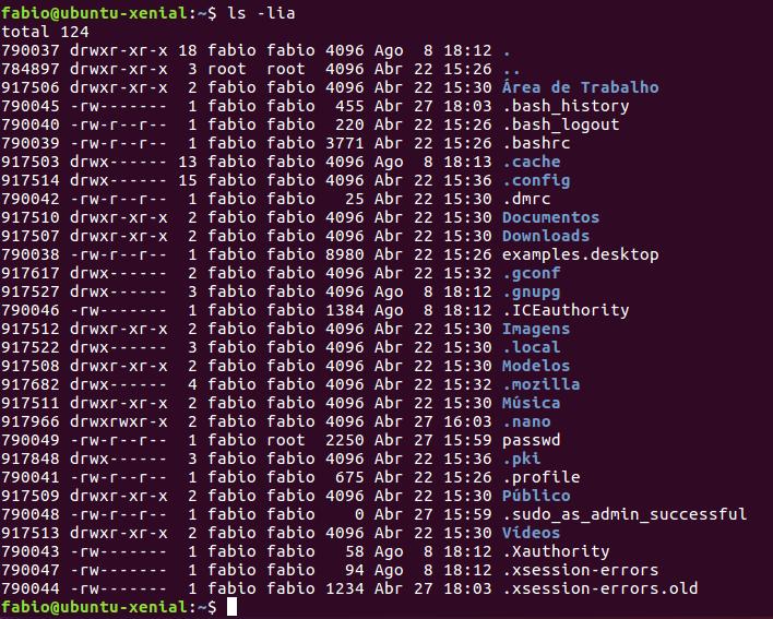 listar arquivos com ls no Linux