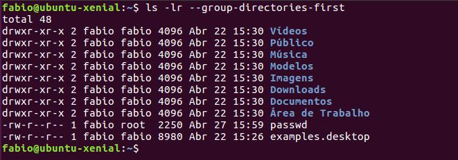 listar diretórios com ls - linux