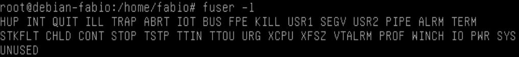 Listar sinais de processos com comando fuser no Linux