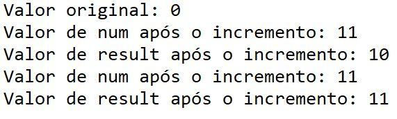 Operador de incremento em Java - exemplo