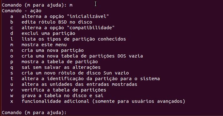 Ajuda do comando interativo fdisk no Linux