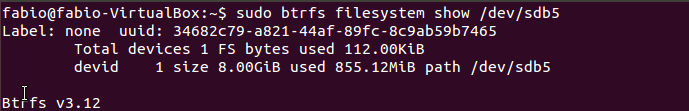 verificar sistema de arquivos com comando btrfs