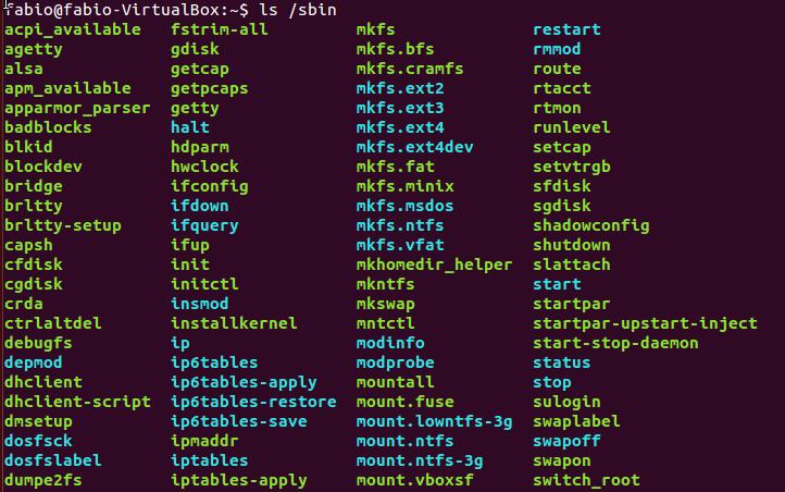 Conteúdo do diretório /sbin no Linux
