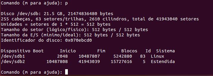 Particionamento finalizado no Linux com fdisk