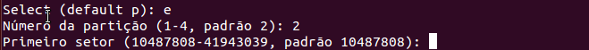 Criar outra partição no Linux sdb2