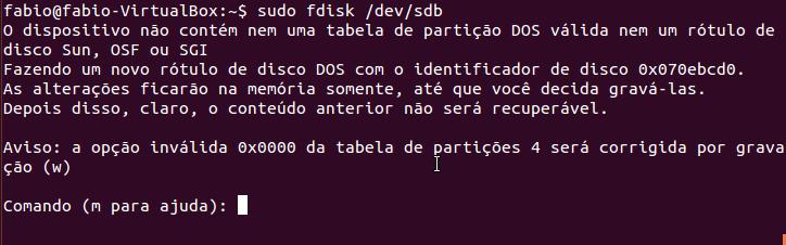 Particionar disco /dev/sdb no Linux