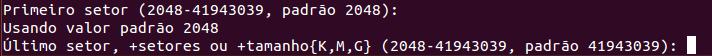 Escolher o tamanho da partição no Linux