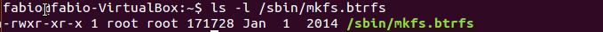 Verificar o utilitário btrfs no diretório /sbin do Linux