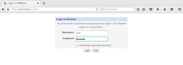 Tela de login do Webmin no linux openSUSE