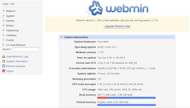 Tela inicial do webmin no linux openSUSE