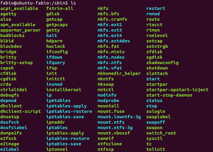 Conteúdo do diretório /sbin no Linux ubuntu