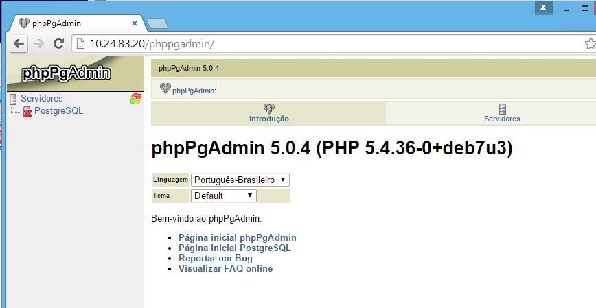 Executando o phpPgAdmin no Linux
