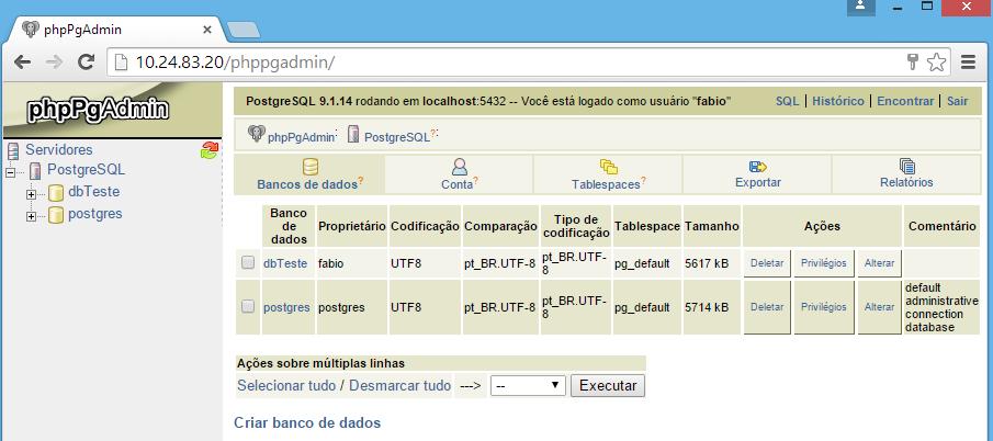 Tela inicial do phpPgAdmin no Linux