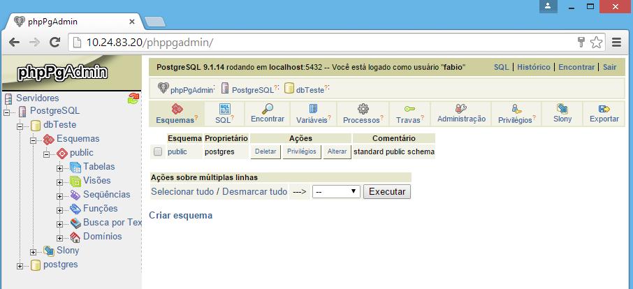 Banco de dados postgresql criado no phpPgAdmin