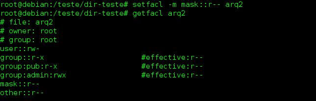 Máscara de direitos efetiva no Linux