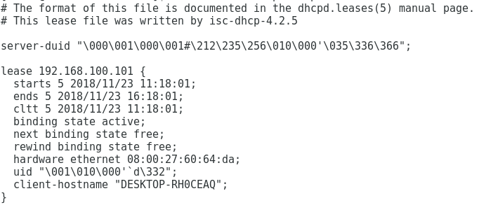 Concessões de IP no servidor DHCP Oracle Linux 7