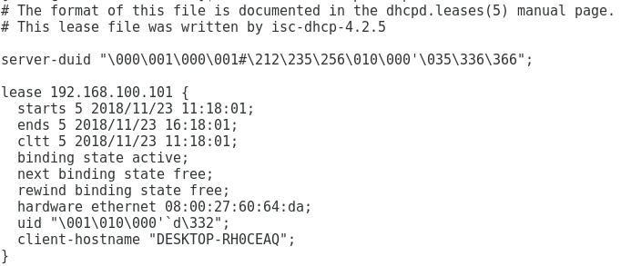 Concessões de IP no servidor DHCP Oracle Linux 7
