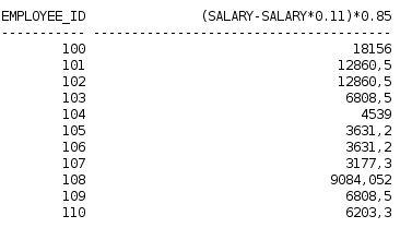 Calcular salário líquido após desconto INSS e do Imposto de Renda com oracle database