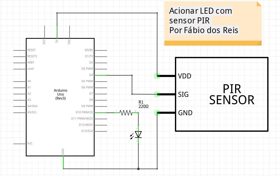 Esquemático do sensor de presença PIR com arduino e LED