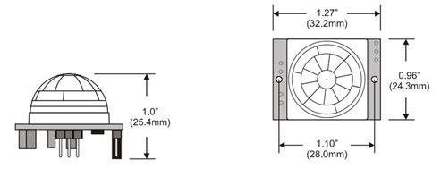 Dimensões de um sensor PIR - Passive Infrared