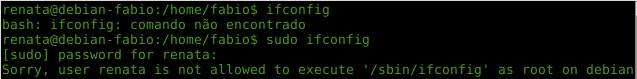 ifconfig com sudo no Linux