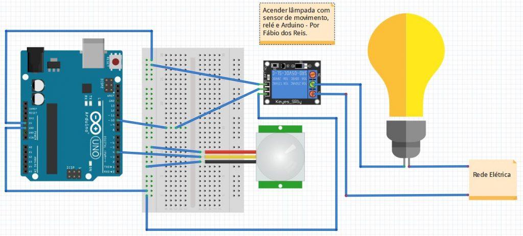 Acender lâmpada com sensor de movimento PIR, arduino e módulo de relé