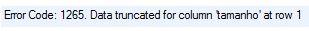 Erro ao inserir valor em coluna de enumeração o MySQL