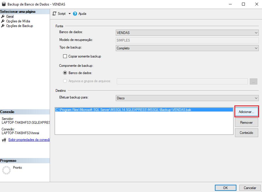 como fazer um backup do SQL Server