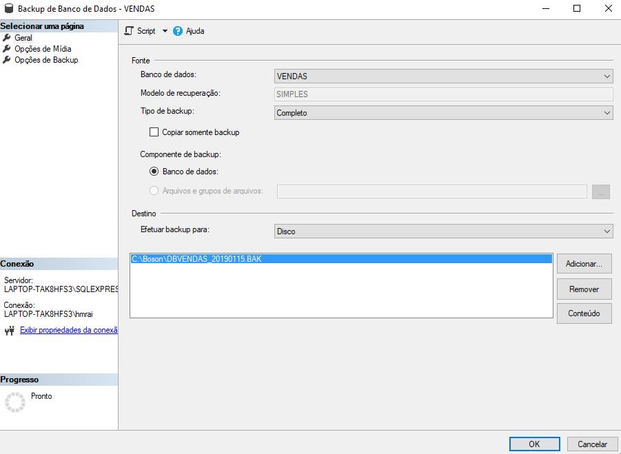 como realizar backup de bancos de dados no microsoft SQL server