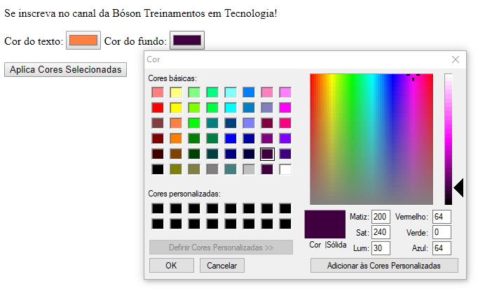 Usando o método getElementById e caixa de Cores HTML para alterar cor de texto