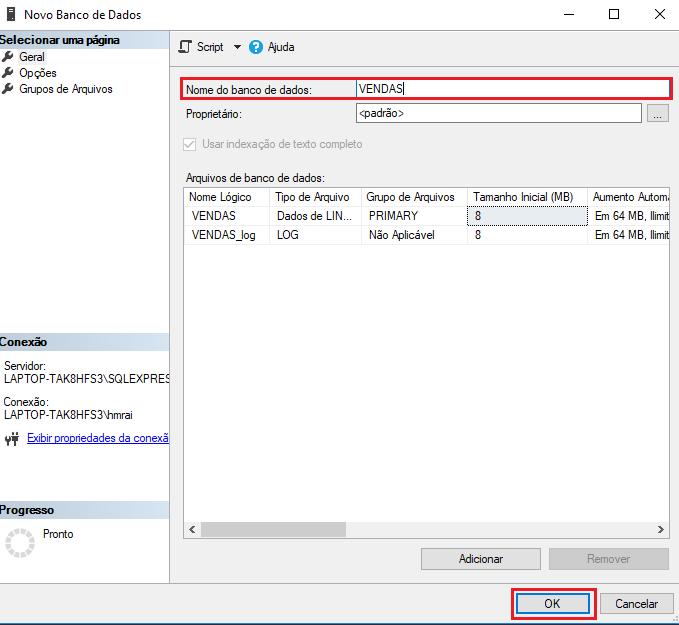 Restaurar banco de dados no Microsoft SQL Server
