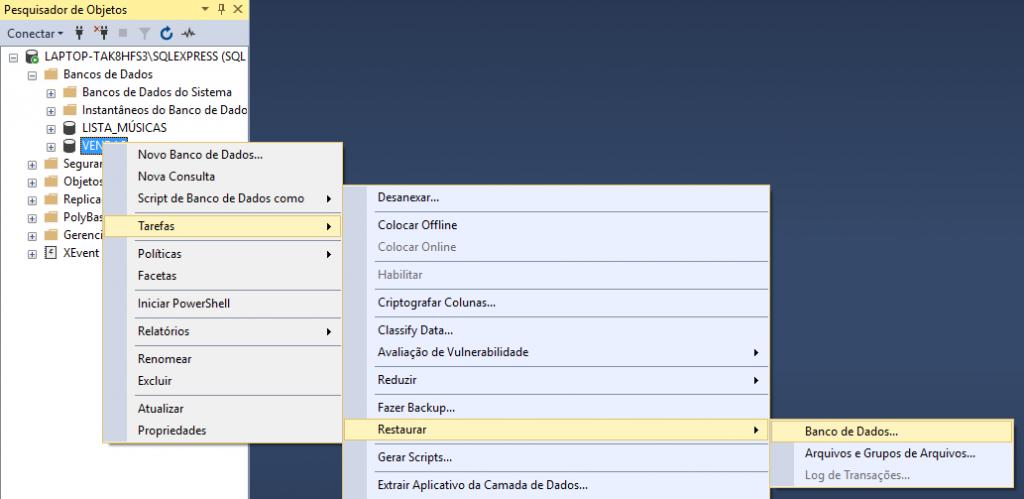 Efetuar restore em banco de dados do SQL Server