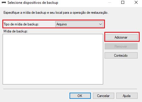 restore de database do SQl Server