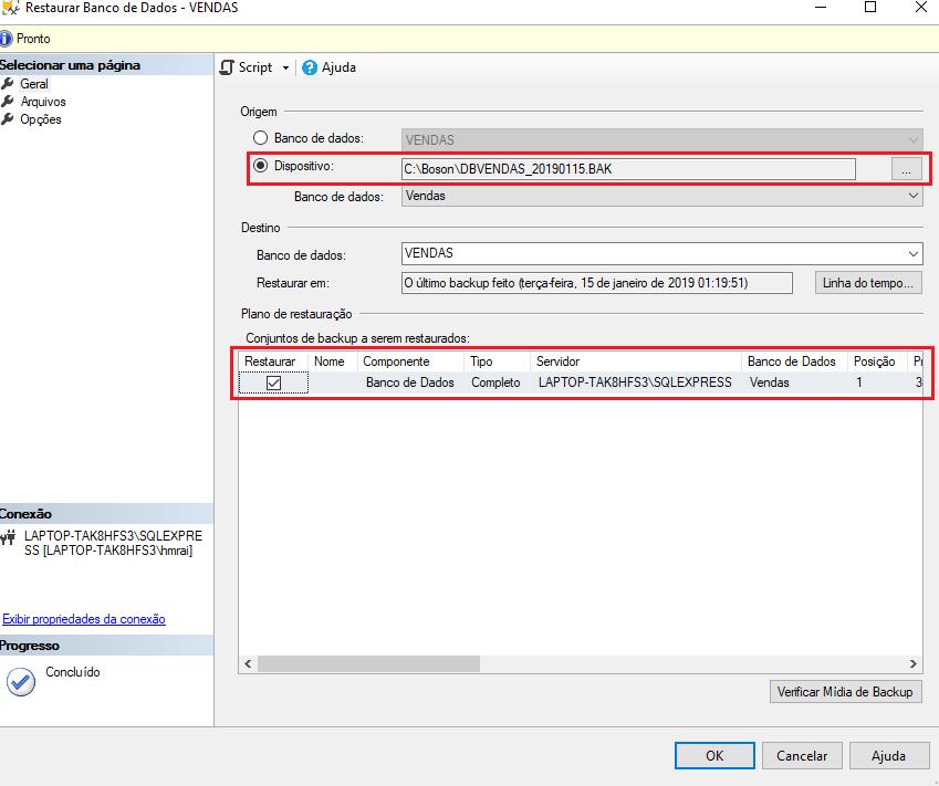 Como fazer restore no Microsoft SQL Server