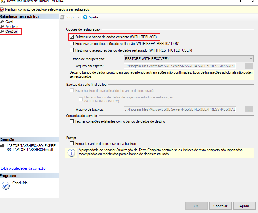 Restaurar banco de dados no SQL Server