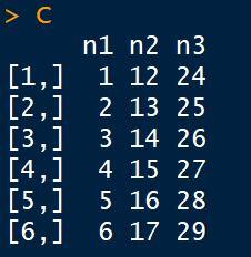 Criar uma matriz com a função cbind() em R