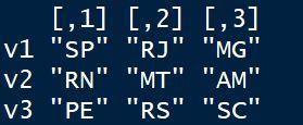 Criando uma matriz com rbind() em linguagem R
