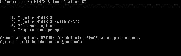 Instalação do sistema operacional Minix 3.3
