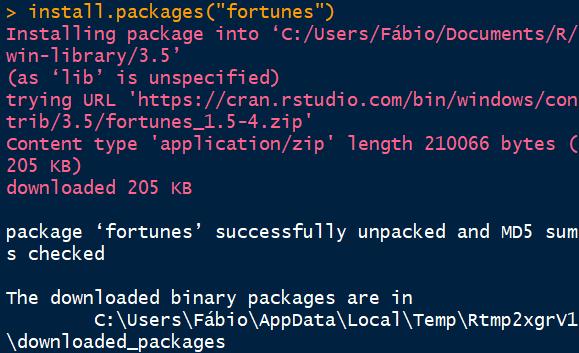 Instalação de pacotes em linguagem R