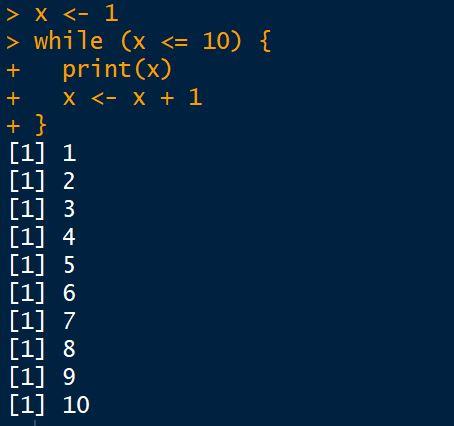 Estrutura de repetição while em linguagem R