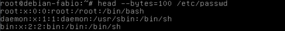 mostrar início de uma arquivo de texto no Linux com o comando head