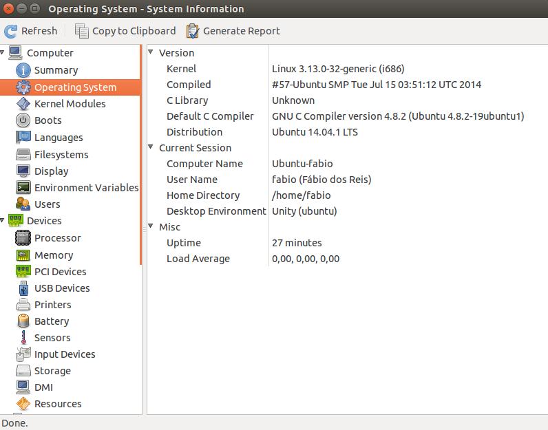 Comando hardinfo no Linux