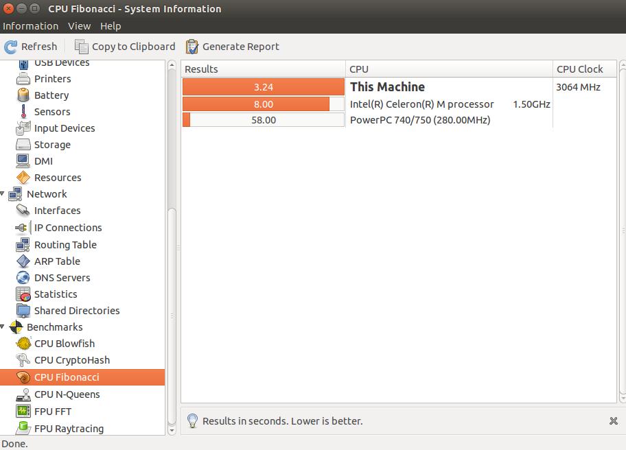 Usando fibonacci com hardinfo no Linux
