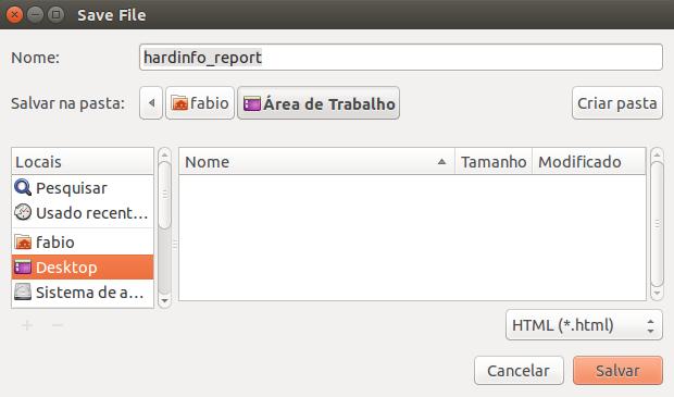 Salvar relatório gerado com hardinfo no Linux