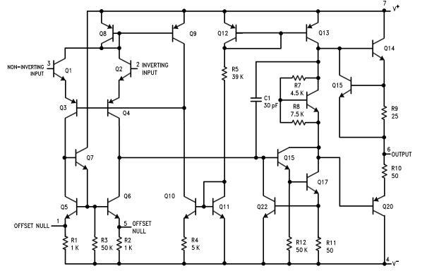 Diagrama de Blocos Amplificador Operacional LM741